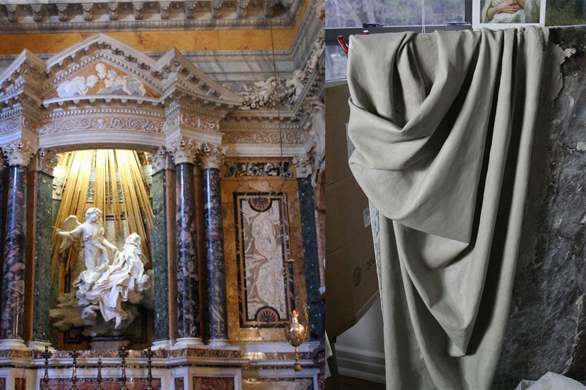 دراپری Drapery - پارچه های چین دار در مجسمه های دوران باروک ایتالیا